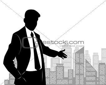 Businessman at city background