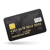 Realistic Black Credit card isolated on white background.