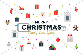 Greeting Christmas and Happy New Year Card with bunch of gifts