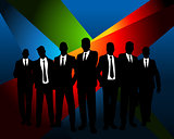 Business team at dark background