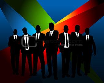 Business team at dark background