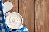 Sour cream in a bowl