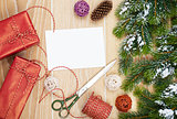 Christmas presents wrapping and greeting card