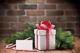 Christmas gift box and greeting card
