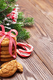 Christmas gingerbread cookies, candy cane and tree