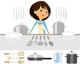 Girl prepares a meal