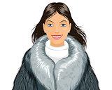 Attractive girl in fur coat
