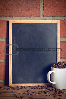 black chalkboard with coffee beans