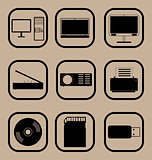 Computer equipment icons set