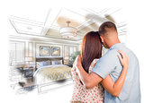 Military Couple Looking Over Custom Bedroom Design Drawing Photo