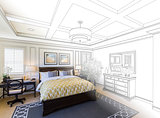 Custom Bedroom Drawing Gradation Into Photograph.
