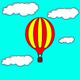 Flying hot air balloon