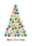 Handprint Christmas tree, vector