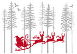 Santa Claus with his reindeer in fir forest, vector