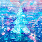 winter watercolor background with Christmas tree