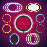 Neon Lights Round Frames Set