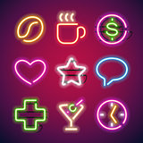 Glowing Neon Signs Set