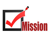 Check mark with mission word