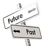 Future and past road sign in white color