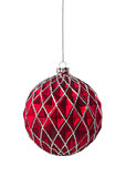 Red Silver Glitter Christmas Ball