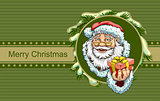 Santa Claus holding box with gift. Christmas greeting card template