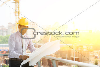 Asian Indian site contractor engineer working