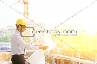 Indian site contractor engineer working