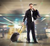 Busy businessman in airport