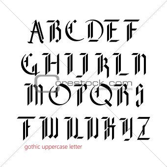 Blackletter modern gothic font.