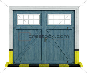 classic car wooden garage on white