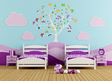 Colorful bedroom for girl