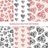 Set of vector seamless pattern with hand drawn colorful hearts
