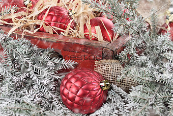 Box of Red Glass Christmas Ornaments