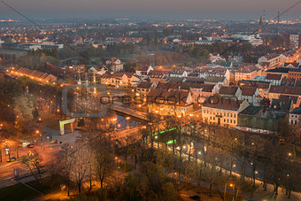Aerial view of Old Town in Klaipeda, Lithuania