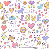colorful seamless pattern with hearts,