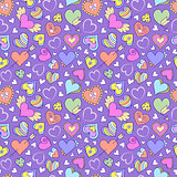 seamless pattern with hearts and other elements
