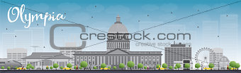 Olympia (Washington) Skyline with Grey Buildings and Blue Sky