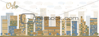 Abstract Oslo Skyline with Blue Buildings