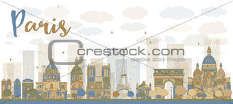 Abstract Paris skyline with color landmarks