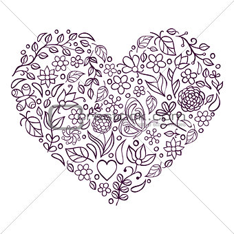 floral heart on white  background