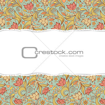floral  seamless pattern with torn paper