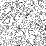 pattern with abstract flowers,leaves and hearts
