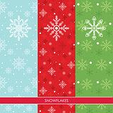 Snow Flakes Set Three Colors Background