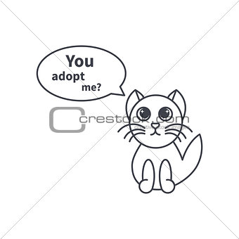 Adoptable kitten line icon