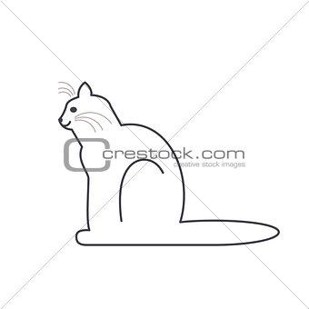 Cat in profile line icon