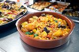 Chickpeas with cod. Mediterranean style cuisine.