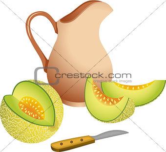 Clay jug with cantaloupe melon