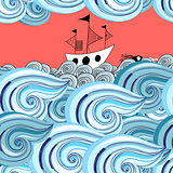 graphic pattern of waves and ship