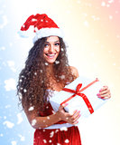 Christmas Santa woman portrait hold