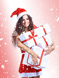 Christmas Santa woman portrait hold christmas gift